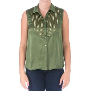 ELIZABETH AND JAMES Womens Button-Down Top
